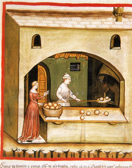 Baking Bread - Tacuinum sanitatis (ÖNB Codex Vindobonensis, series nova 2644), c. 1370-1400