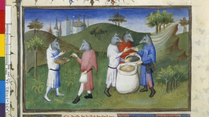 "Figure 1. The ""dog-headed men"". Français 2810, fol. 76v, 1410-1412."