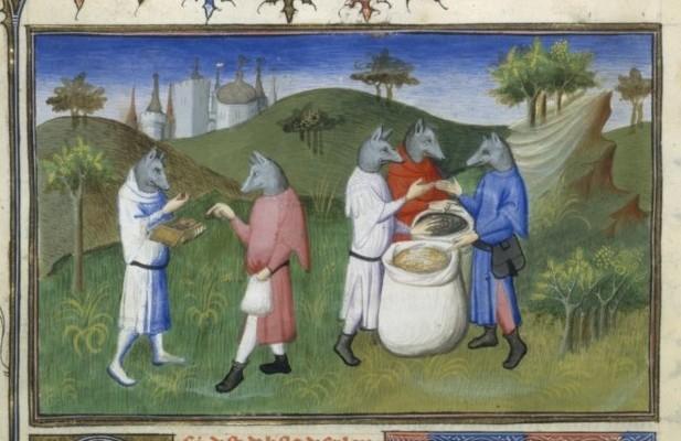 """Figure 1. The """"dog-headed men"""". Français 2810, fol. 76v, 1410-1412."""