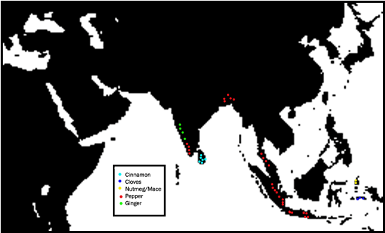 Map of Spice Growing Locations
