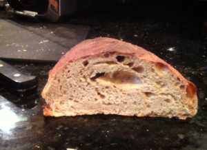 1st loaf bread baked with yeast from currently-fermenting beer